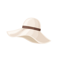 Woman floppy hat with wide brim decorated vector