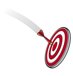 Dart hitting s target vector image vector image