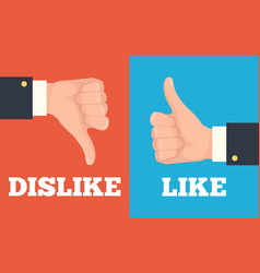 like and dislike hands vector image