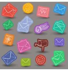 Mailing doodle icons vector image vector image
