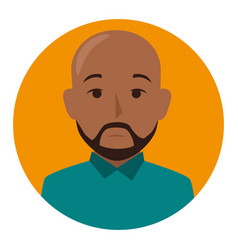 orange sphere of half body brunette bald man with vector image vector image