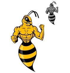 Powerful wasp or yellow hornet vector image vector image