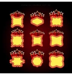 Retro illuminated movie marquee set vector image