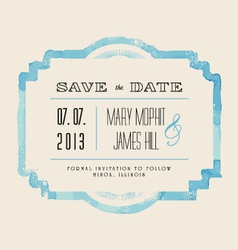 Save the date with watercolor frame vector