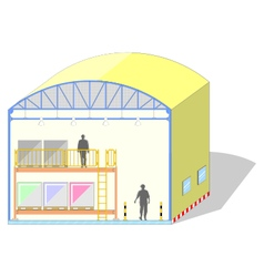 Warehouse shaped dome canvas tent storage section vector image vector image