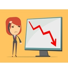 Business lady at loss arrow vector image