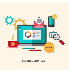 Business strategy planning icon flat set with vector image vector image