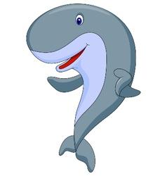 Cute whale cartoon waving vector image