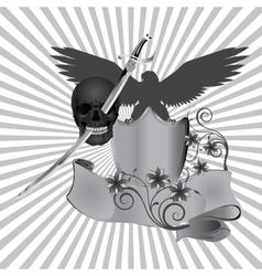 skull pierced by a sword vector image