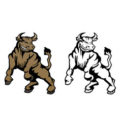 bull cartoon mascot vector image vector image