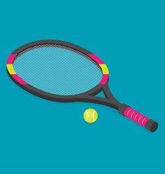 isometric set of tennis racket and tennis ball vector image vector image