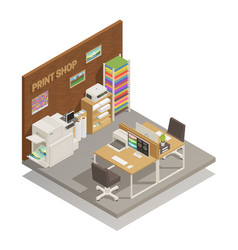 print shop interior isometric composition vector image vector image