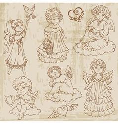 Vintage Angels Dolls Babys vector image