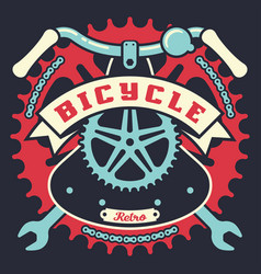 bicycle vintage poster with parts and ribbon vector image