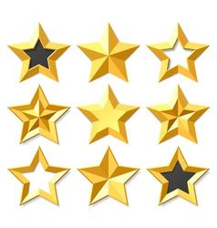 Gold stars set vector image vector image