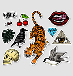 set of fashion patches tattoo artwork for girls vector image