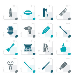 stylized cosmetic make up and hairdressing icons vector image vector image