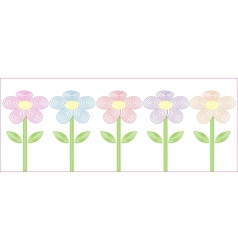 stylized flowers five different colors vector image
