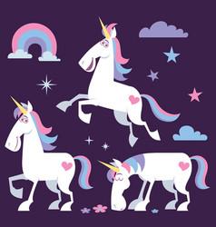 unicorn cartoon set 2 vector image vector image