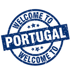 welcome to portugal blue stamp vector image vector image