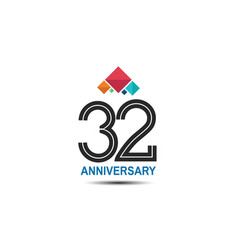 32 anniversary logotype with colorful crown vector