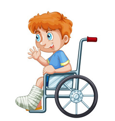 A boy on wheelchair vector