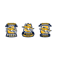 a collection colorful logos emblems fox head vector image
