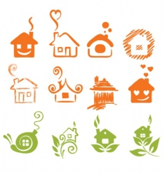 a set of abstract houses vector image vector image