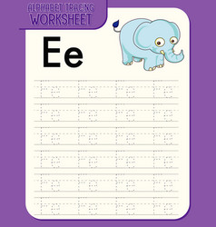 Alphabet tracing worksheet with letter e and e vector