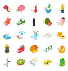 Arabian icons set isometric style vector