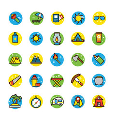 Beach and camping icons vector