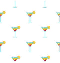Beach cocktail pattern flat vector