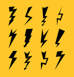 Black color lightnings set isolated on yellow vector