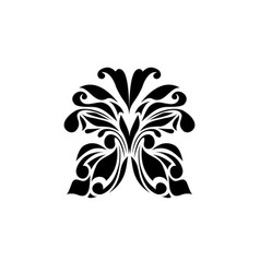 Black logotype of butterfly isolated on white vector