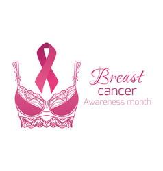 Breast cancer awareness pink ribbon with pink vector