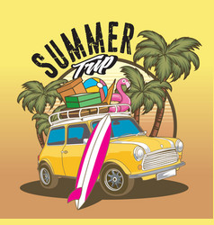 Car sumer trip beach travel vector