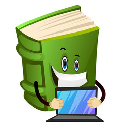 Cartoon book character is holding lap top on vector
