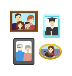 cartoon family photos in frames set vector image