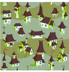 Cartoon old town seamless pattern vector image