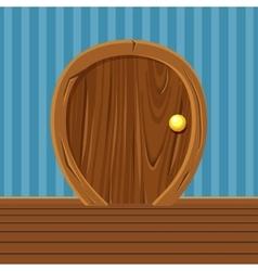 Cartoon Wooden Rounded Door For Home Interior vector image