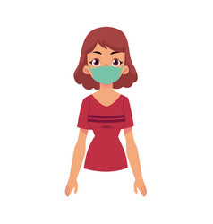 cartoon young woman wearing protection mask vector image