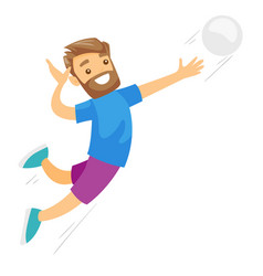 Caucasian white sportsman playing volleyball vector