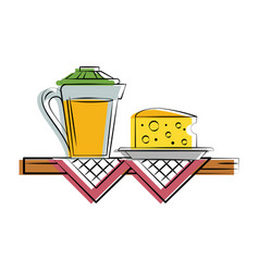 cheese with orange juice food related image vector image