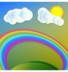 collage rainbow sun clouds vector image