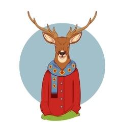 Colourful winter deer vector