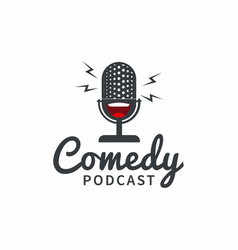 comedy podcast logo design vector image