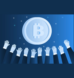 concept crypto currency hands reach vector image