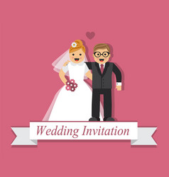 Cute cartoon bride and groom vector