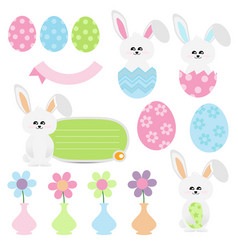 cute easter cartoon on white background vector image