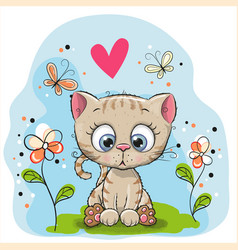 Cute kitten with flowers vector